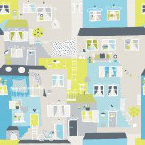 Galerie Street Life Grey & Blue Wallpaper