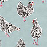 Studio G Rooster Duck Egg Fabric - Product code: F0523/02