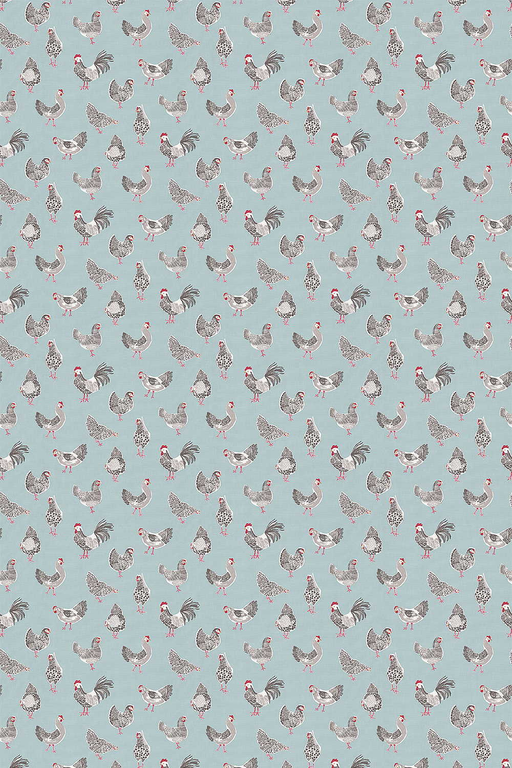 Rooster Fabric - Duck Egg - by Studio G