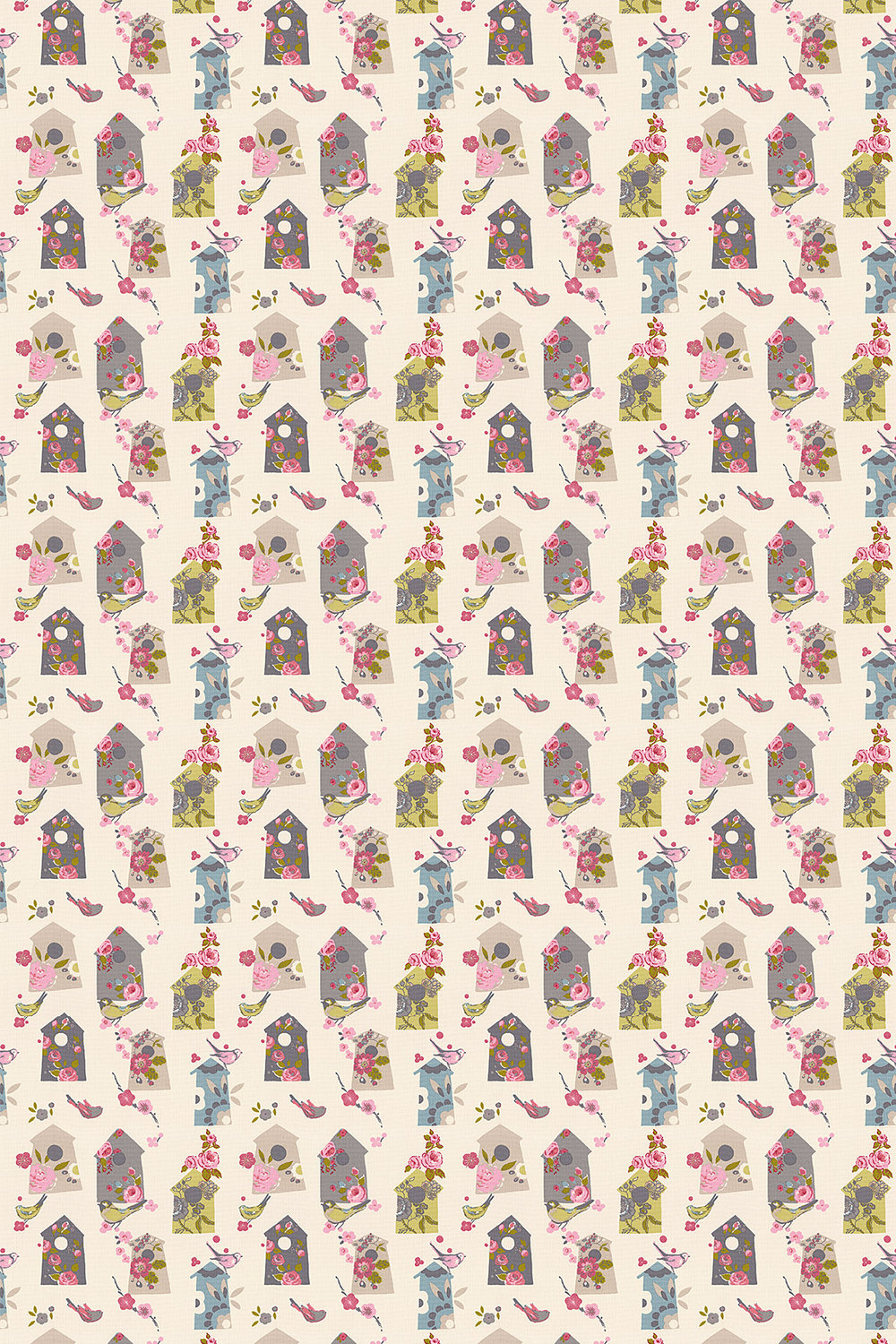 Birdhouse Fabric - Natural - by Studio G