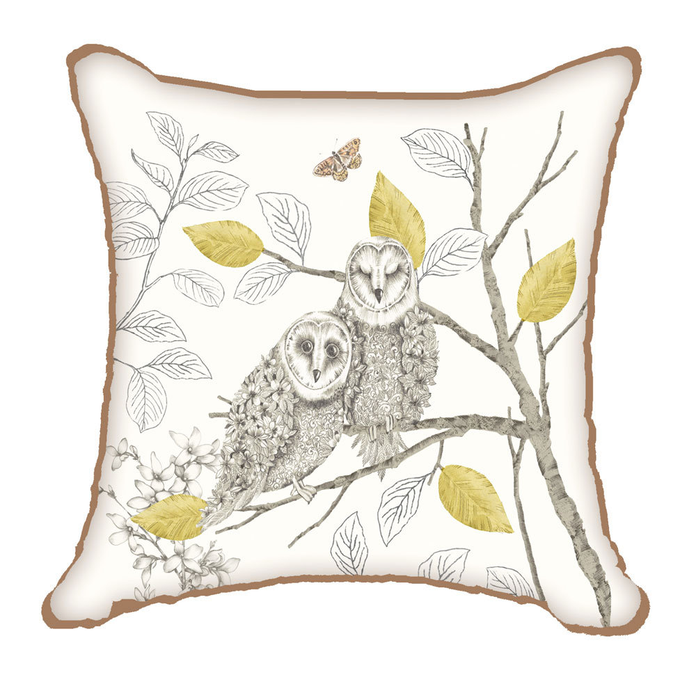 Night Owl Cushion By Arthouse Neutral Wallpaper Direct