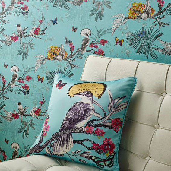 mystical forest cushion by arthouse blue wallpaper direct