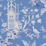 Thibaut Pagoda Garden Blue Wallpaper
