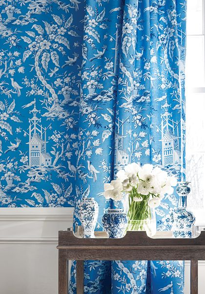 Pagoda Garden By Thibaut Blue Wallpaper Direct