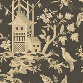 Thibaut Pagoda Garden Charcoal Wallpaper - Product code: T14207