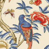 Thibaut Giselle Blue and Coral Wallpaper - Product code: T14228