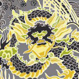 Thibaut Imperial Dragon Charcoal and Yellow Wallpaper - Product code: T14234