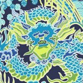Thibaut Imperial Dragon Navy and Green Wallpaper - Product code: T14235