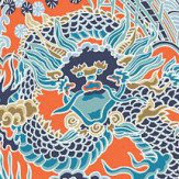 Thibaut Imperial Dragon Turquoise and Coral Wallpaper - Product code: T14237