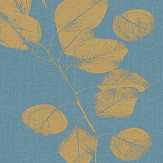 Jocelyn Warner Leaf Turquiose and Gold Fabric