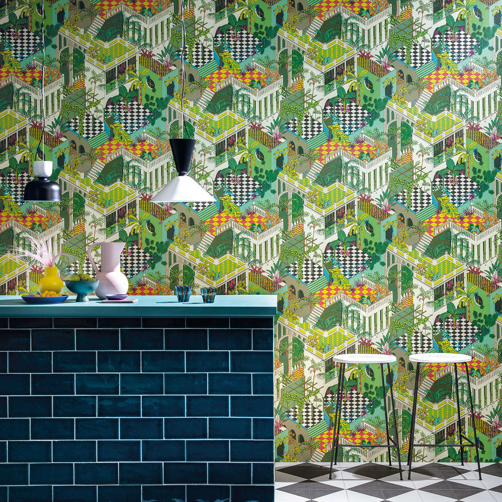 Cole & Son Miami Green and Coral Wallpaper - Product code: 105/4017