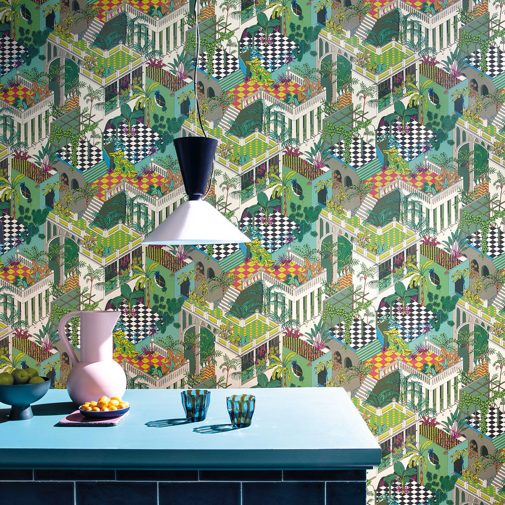Miami Wallpaper - Green and Coral - by Cole & Son