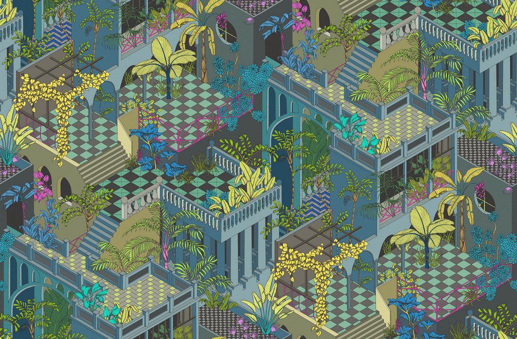 Miami by Cole & Son - Navy and Pink : Wallpaper Direct