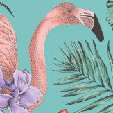 Matthew Williamson Flamingo Club Jade, Lavender & Coral Wallpaper