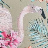 Matthew Williamson Flamingo Club Antique Gold, Cerise, Orange & Coral Wallpaper