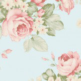Galerie Rose Bouquet Duck Egg Wallpaper