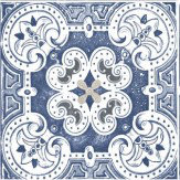 Albany Painted Tile Blue, White and Grey Wallpaper