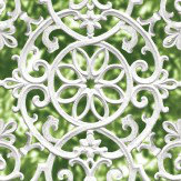 Albany Ironwork Trellis Green and White Wallpaper