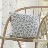 Sanderson Dawn Chorus Batik Leaf Cushion Linen & Marine Blue