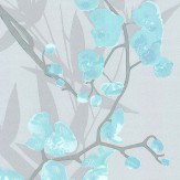 Galerie Orchid Trail Duck Egg Blue Wallpaper