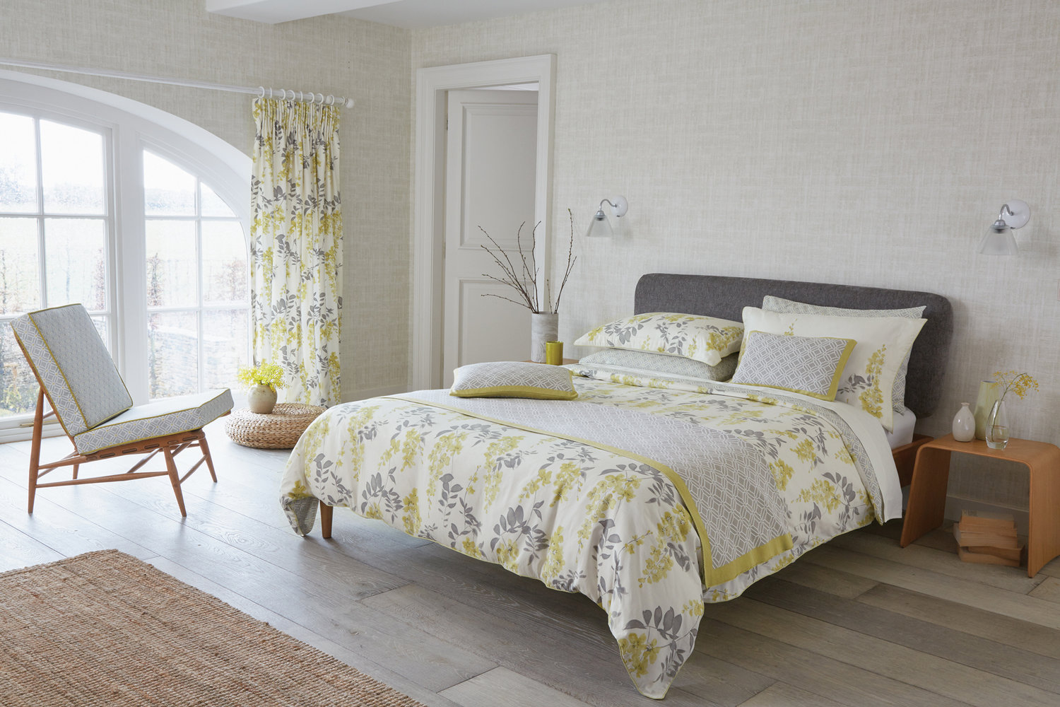 Sanderson Wisteria Blossom Oxford Pillowcase Linden & Charcoal extra image