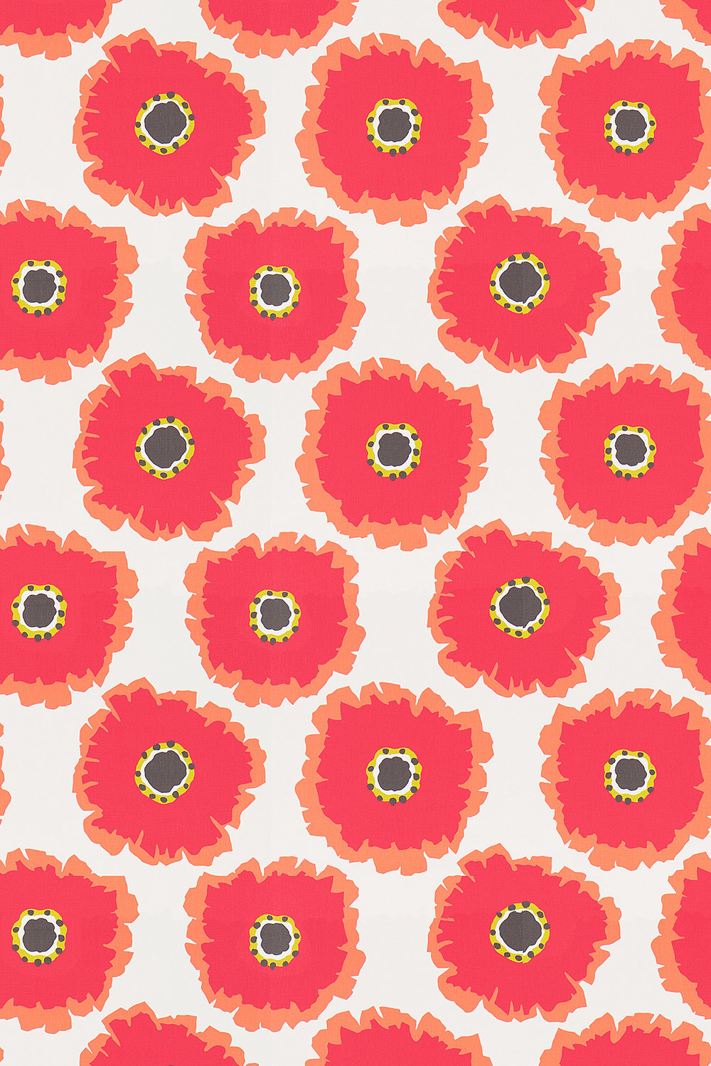 Sanderson Papavera Chalk / Coral Fabric - Product code: 224611