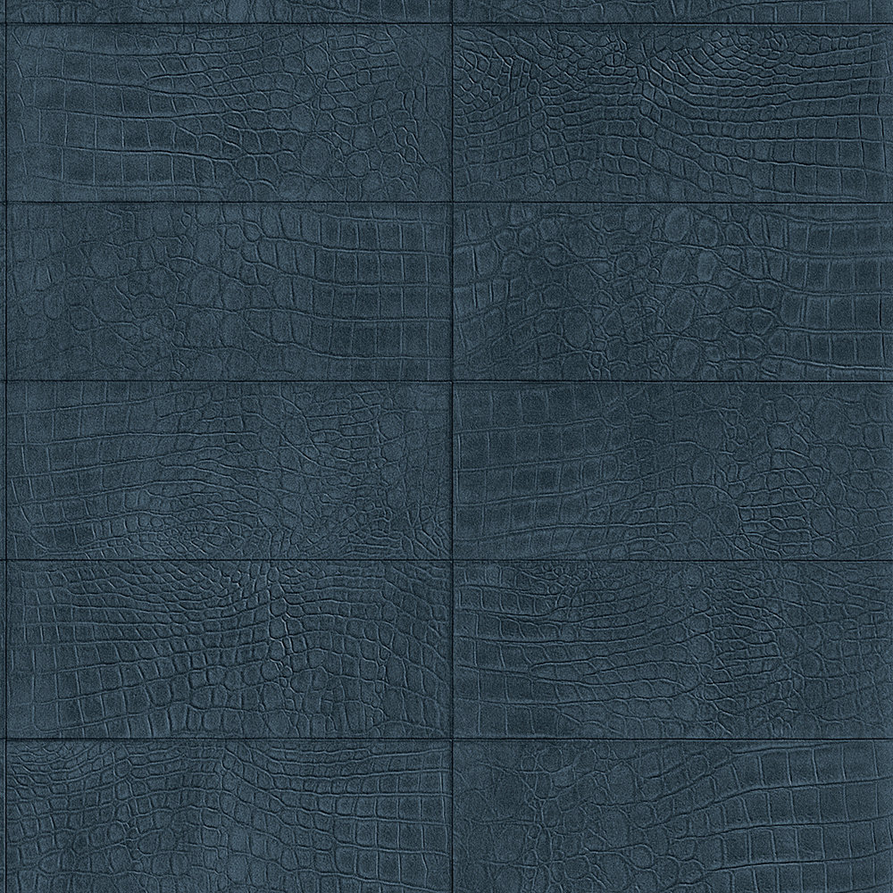 Albany Crocodile Brick Effect Navy Wallpaper main image