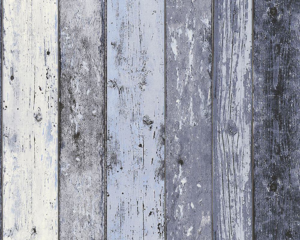 Albany Wood Panelling Blue Wallpaper - Product code: 8550-60