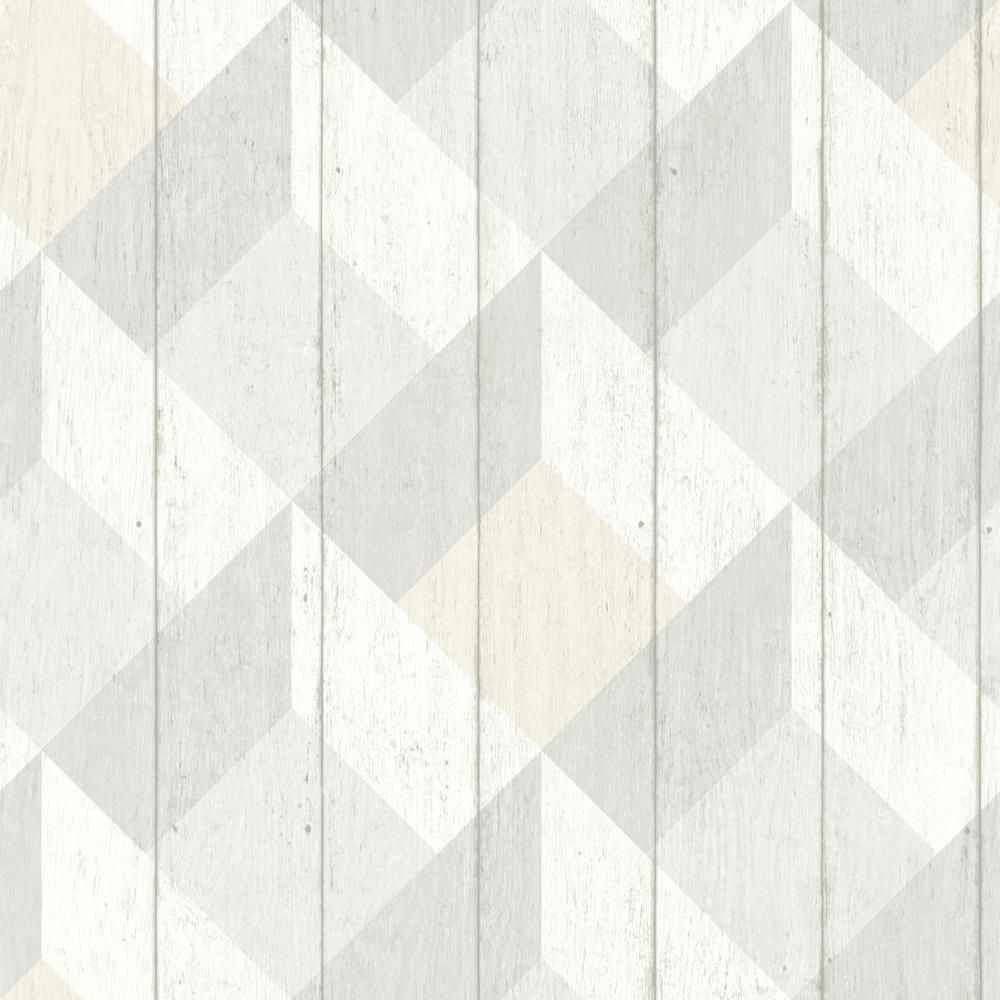 Albany Geometric Wood Panelling Neutral Wallpaper main image