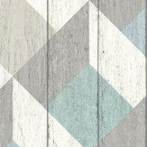 Albany Geometric Wood Panelling Blue Wallpaper