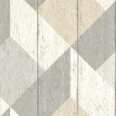 Albany Geometric Wood Panelling Beige Wallpaper