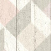 Albany Geometric Wood Panelling Pink and Grey Wallpaper