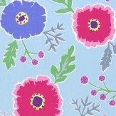 Sanderson Wind Poppies Powder Blue / Fuchsia Fabric