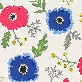Sanderson Wind Poppies Marine / Crimson Fabric - Product code: 224620