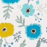 Sanderson Wind Poppies Cadmium / Teal Fabric