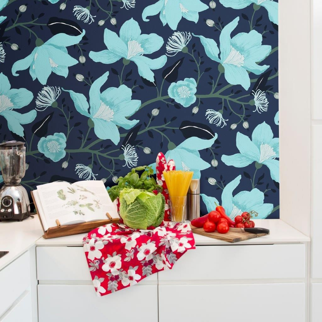 Vallila Clematis Blue  Wallpaper - Product code: 5140-1