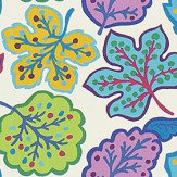 Sanderson Jewel Leaves Fig / Teal Fabric