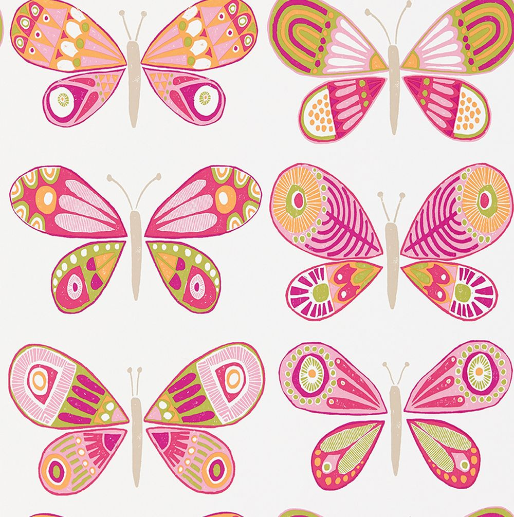 Scion Madame Butterfly Cerise, Pistachio and Chalk Wallpaper main image
