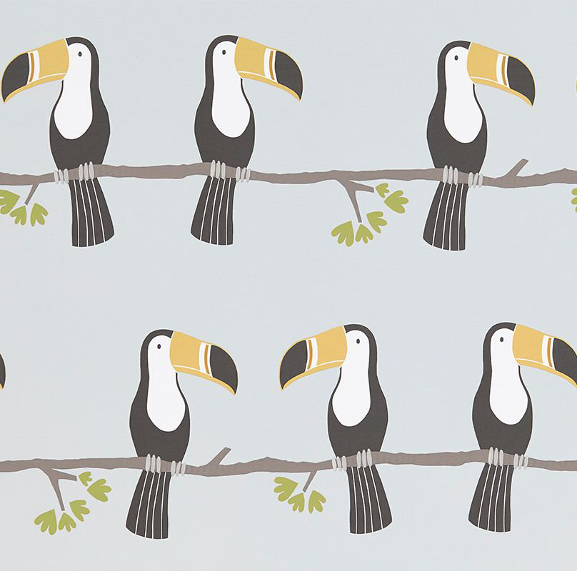 Scion Terry Toucan Tangerine, Charcoal and Maize Wallpaper main image