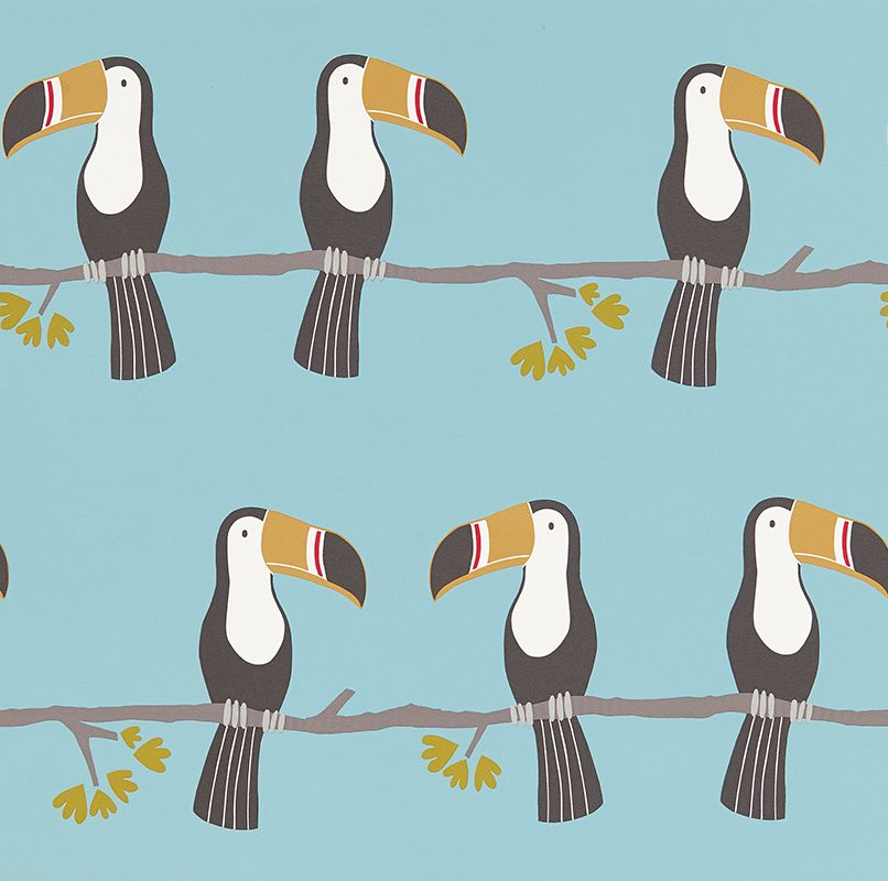 Scion Terry Toucan Honey, Charcoal and Sky Wallpaper main image
