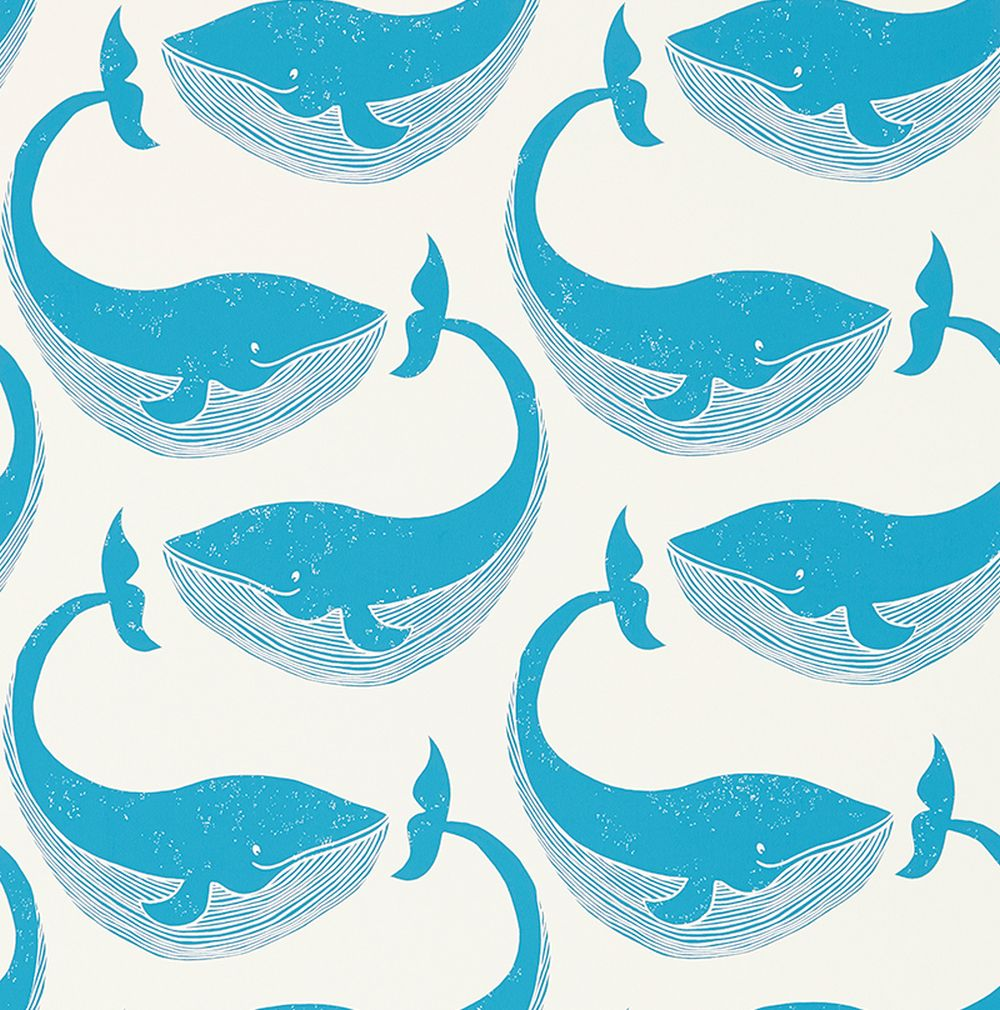 Scion Whale of a Time Ocean and Parchment Wallpaper main image