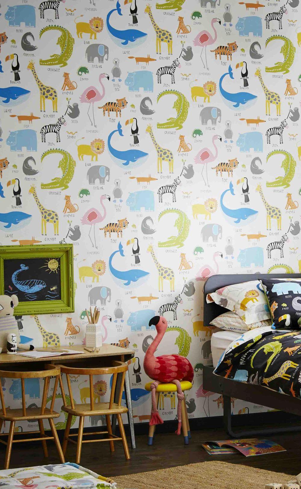 Animal Magic Wallpaper - Multi on White - by Scion