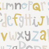 Scion Letters Play Slate, Biscuit and Maize Wallpaper