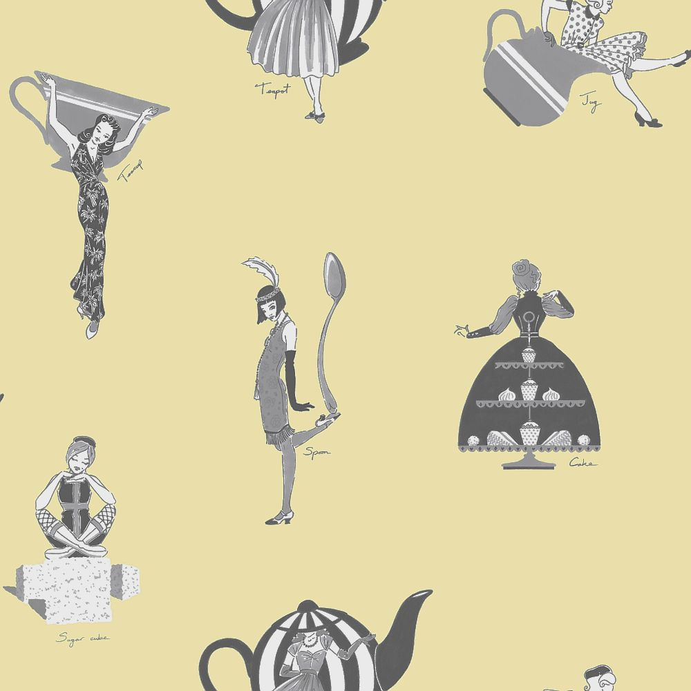 Kerry Caffyn Afternoon Tea Yellow Wallpaper - Product code: KC2001