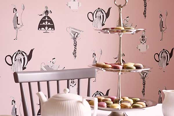 Kerry Caffyn Afternoon Tea Pink Wallpaper