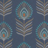 Jane Churchill Sula Midnight / Teal Wallpaper - Product code: J150W-05