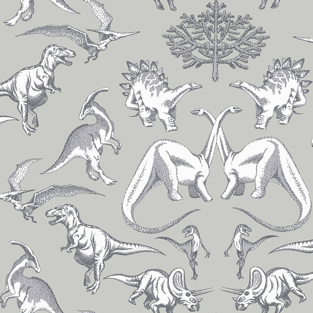 Kerry Caffyn Dotty Dinosaurs Grey Wallpaper - Product code: KC2008