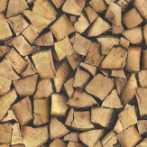 Albany Wood Logs Brown Wallpaper