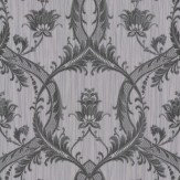 Albany Glitter Trailing Damask Black / Grey Wallpaper