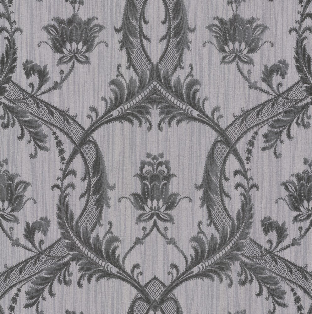 Albany Glitter Trailing Damask Black / Grey Wallpaper - Product code: M95565